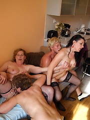 Three mature sluts take on one hard cock