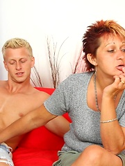 Sex-hungry granny fucking with young blonde man