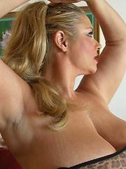 Samantha 38G - huge boobs in lepoard body corset