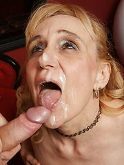 Mature woman riding a hard pole