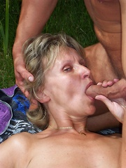 Horny mature MILF has hairy bush soaked in jizz!