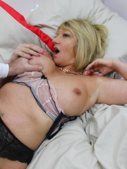 Horny British mature lady doing her younger lover