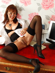 Hairy mature British housewife playing with her toy