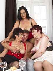 Three naughty housewives sharing a horny dude